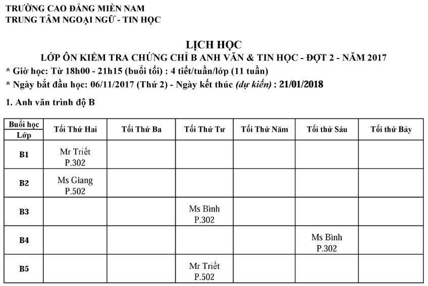 lich on Anh van - Tin hoc