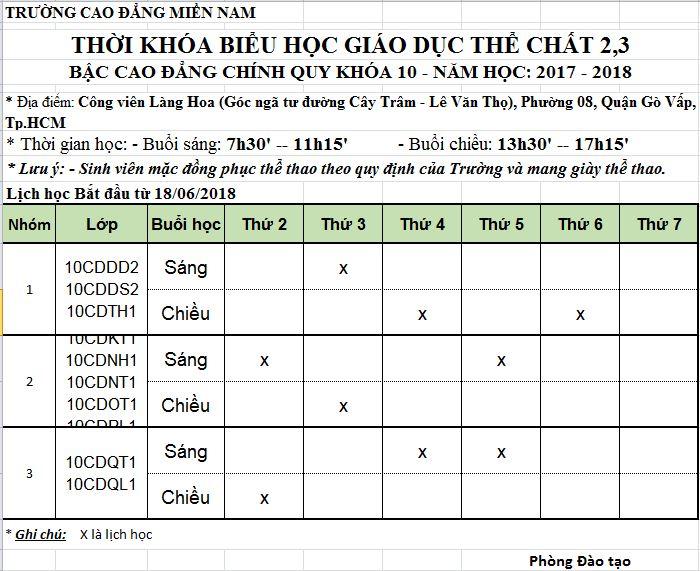 lịch học GDTC khóa 10